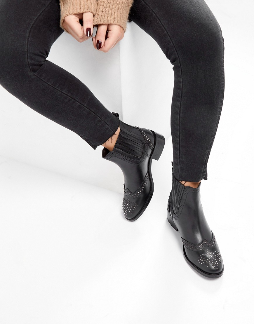 Product photo of Asos alma leather studded chelsea boots black leather
