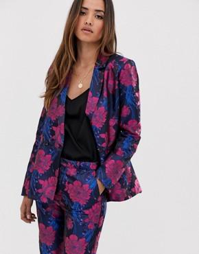 mByM metallic floral jacquard suit jacket