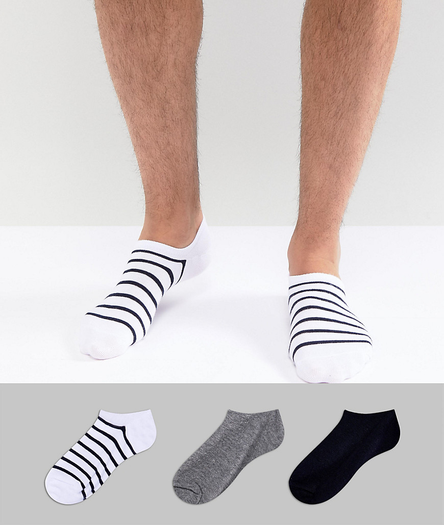 Bershka Trainer Socks 3 Pack In White - White
