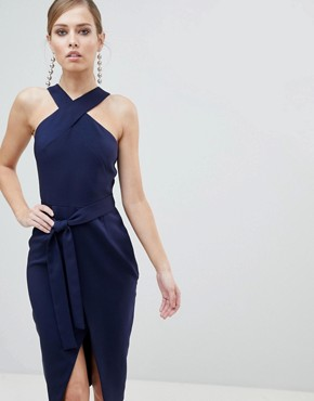 Lavish Alice Cross Front Midi Dress with Wrap Skirt and Tie Waist - Navy