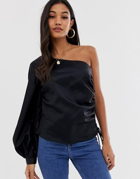 ASOS DESIGN asymmetric top with ruched side