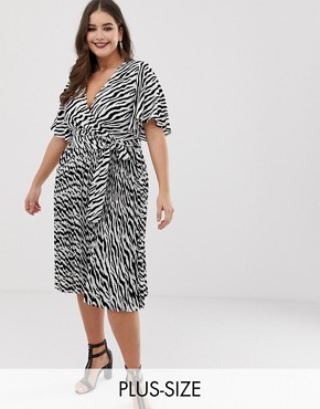 PrettyLittleThing Plus pleated midi dress in zebra print