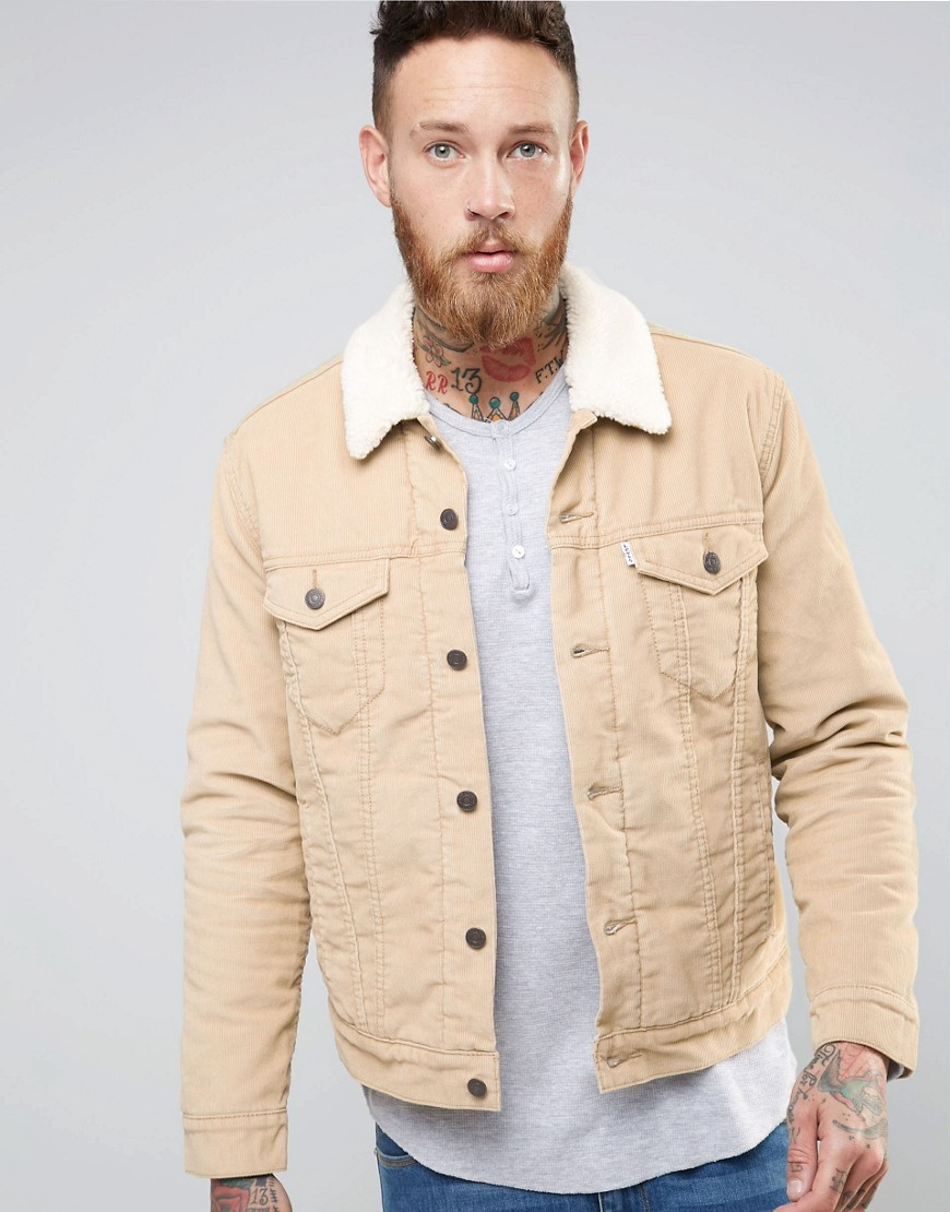 Product photo of Levi s cord borg lined jacket type 3 trucker beige beige
