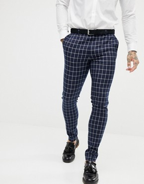 ASOS DESIGN super skinny suit trousers in navy grid check - Navy