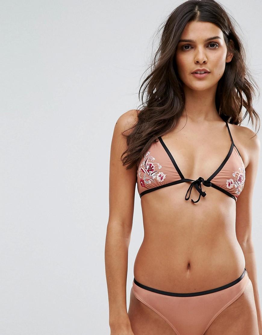 Photo of Minkpink Devoted Tie Front Bikini Top in Beige - save 81% OFF this Minkpink swimwear online