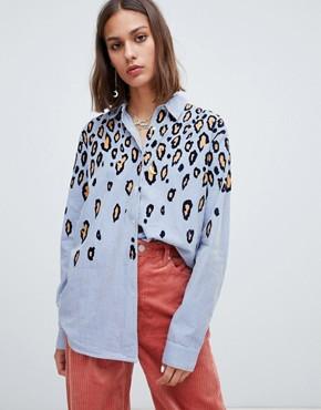 Maison Scotch textured leopard print shirt - Combo b