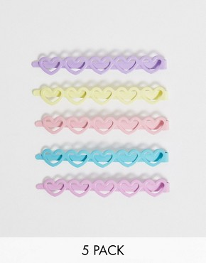 ASOS DESIGN pack of 5 hair clips in colourful heart shapes