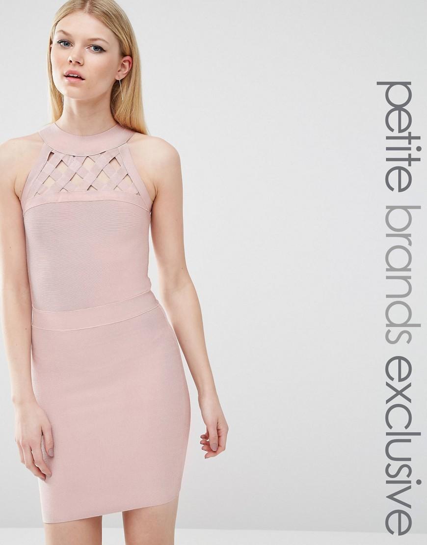 True Decadence Petite Bandage Dress With Lattice Detail