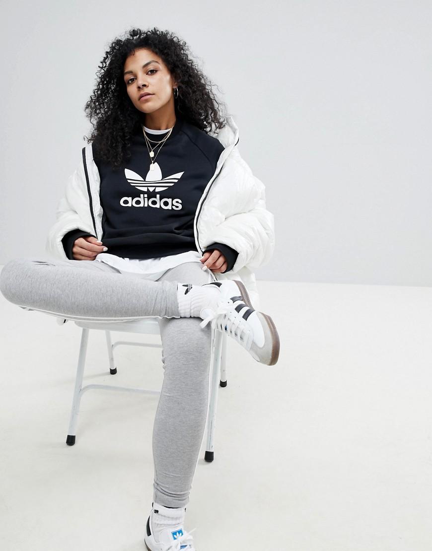 Felpa Nero donna Felpa oversize con trifoglio nera - Adidas Originals - adicolor - Nero