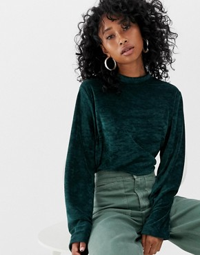Weekday velour sweatshirt in Dark Green - Dark green