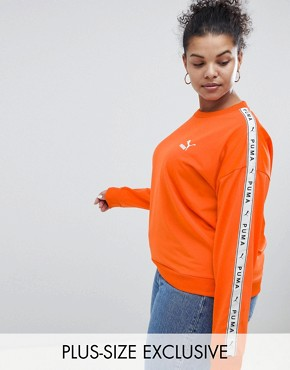Puma Exclusive To ASOS Plus Sweatshirt With Taped Side Stripe In Orange - Firecracker