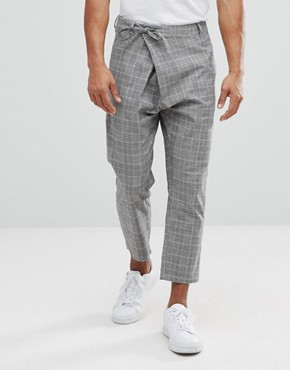 ASOS Tapered Check Trousers With Asymmetric Front - Grey