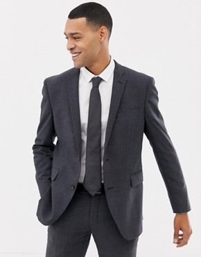 Esprit slim fit commuter suit jacket in grey check - Grey
