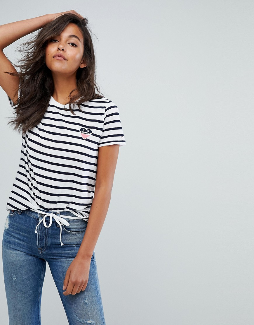 Tommy Jeans Stripe Heart T Shirt - White/navy