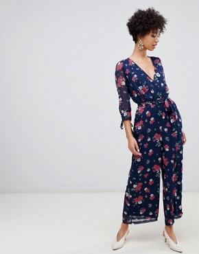 Vero Moda 3/4 length floral jumpsuit - Navy blazer