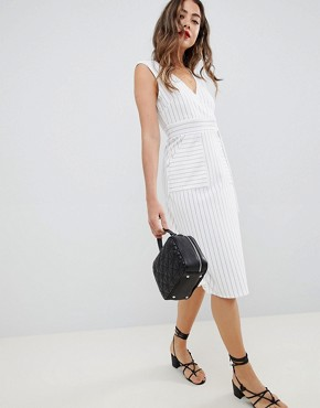ASOS DESIGN stripe wrap dress with d-ring detail - Stripe