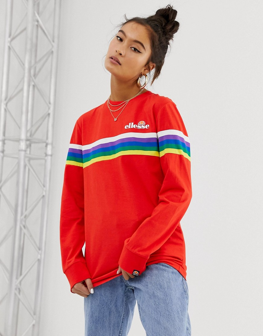 Ellesse long sleeve t-shirt with chest logo and rainbow stripe