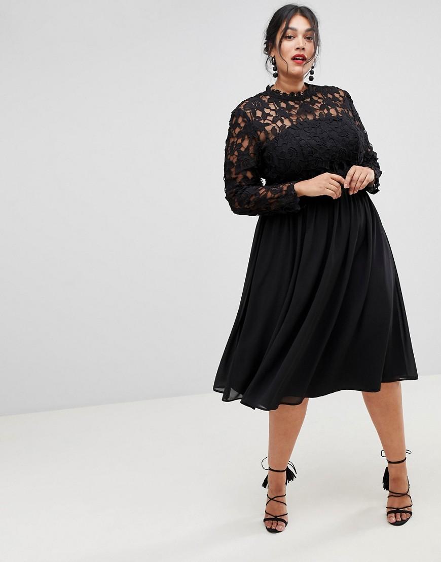 29853ebef53a Eleganti scarpe Nero donna Vestito midi nero a pieghe accollato con maniche  in pizzo Nero Chi