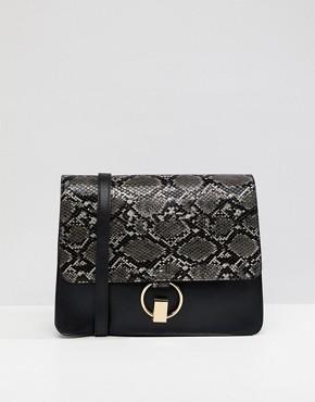 Warehouse snake panel satchel bag in black - Black