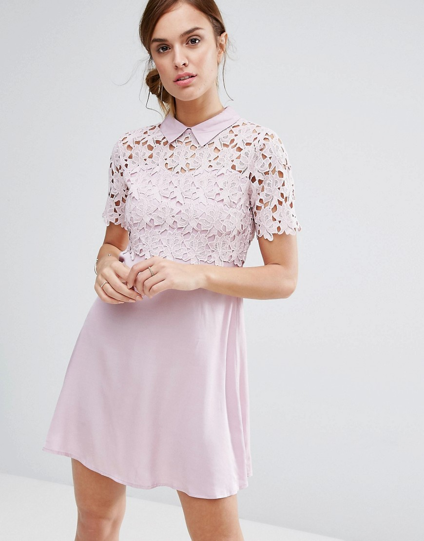 Product photo of Little white lies philo dress lace shift dress with collar blush