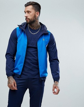 Luke Sport Ainslie hooded track jacket in blue mix