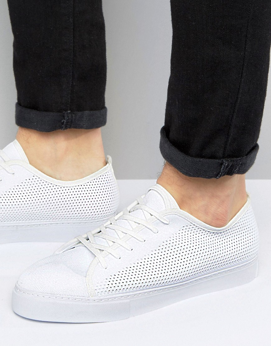 Product photo of Asos lace up plimsolls in white mesh white