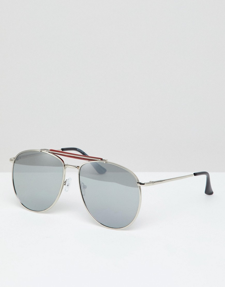 Product photo of 7x aviator sunglasses with mirror lens silver