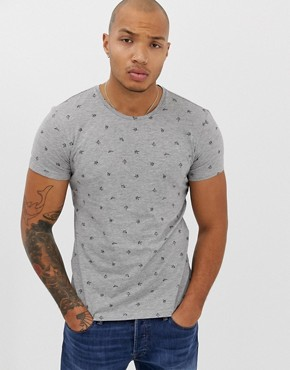 Blend slim fit t-shirt with all over print