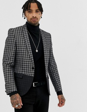 Twisted Tailor super skinny blazer in metallic dogstooth - Grey