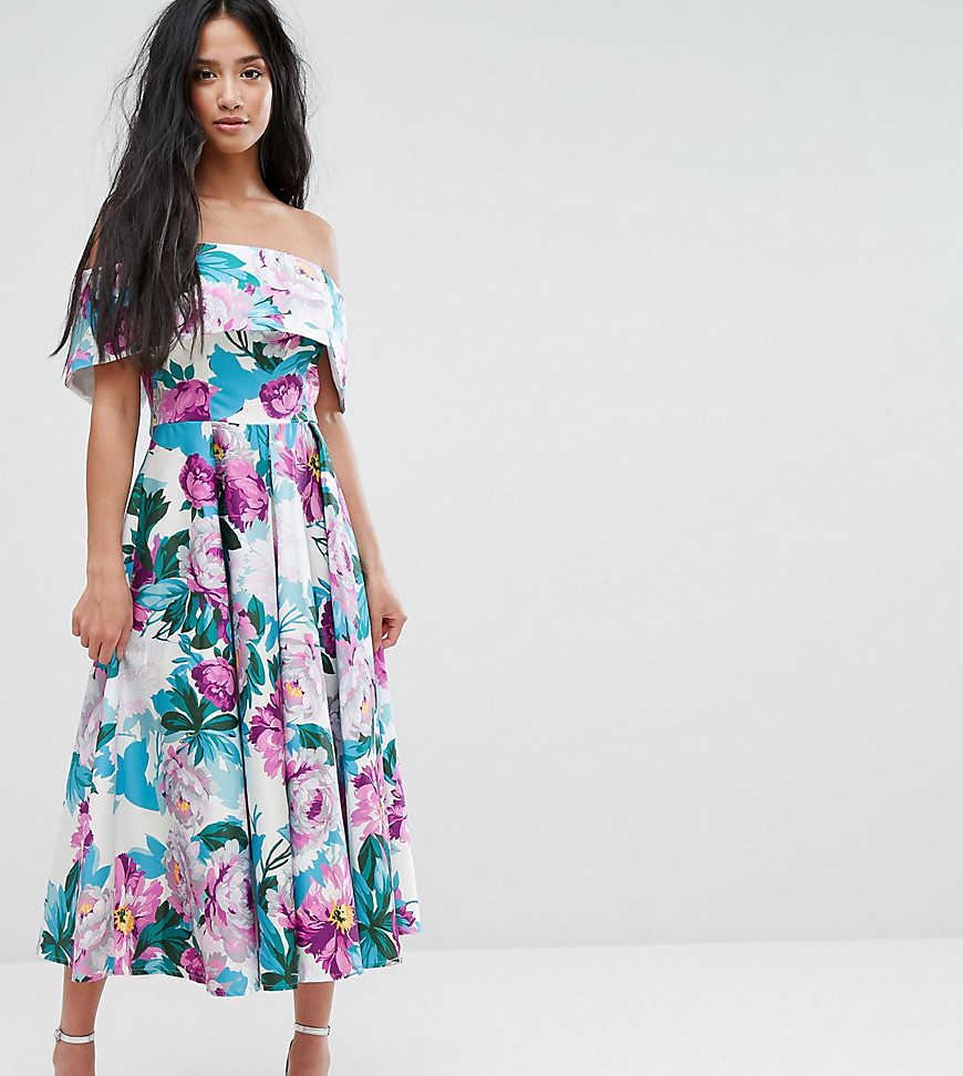 ASOS PETITE Off The Shoulder Midi Prom Dress In Bright Purple Floral