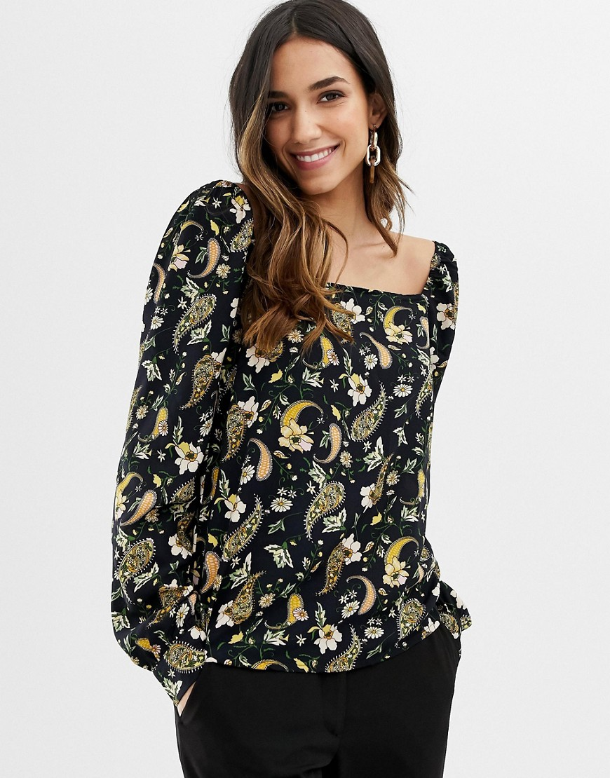 Vila paisley square neck long sleeve top - Multi