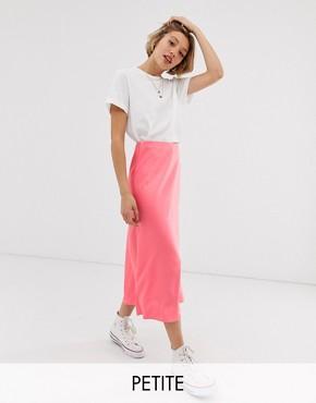 New Look Petite satin midi skirt in rose pink