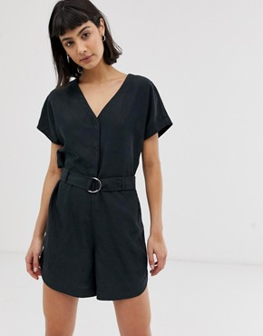 Weekday V-neck playsuit with waist belt in black