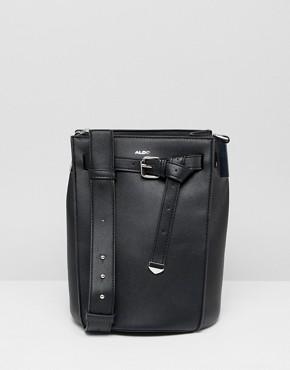 ALDO Veniano black bucket shoulder tote bag with front belt detail - Black
