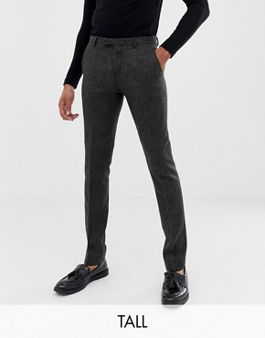 Twisted Tailor super skinny suit trouser in charcoal donegal tweed
