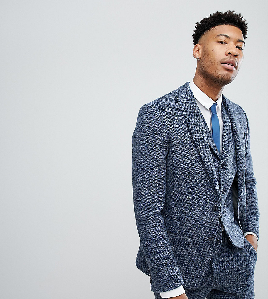 Image of Abbigliamento TALL Giacca da abito slim in Harris Tweed di lana 100% blu a quadretti - Blu