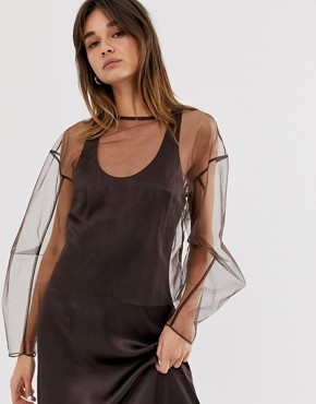Weekday limited edition long sleeve top with mesh in dark brown