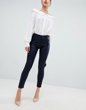 J Brand Maria high rise coated skinny jeans - Navy