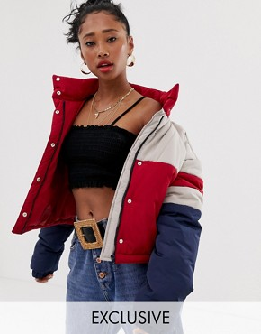 Reclaimed Vintage inspired cropped puffer jacket in colour block - Multi