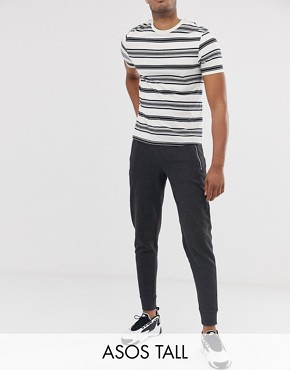 ASOS DESIGN Tall tapered joggers with zips in charcoal marl