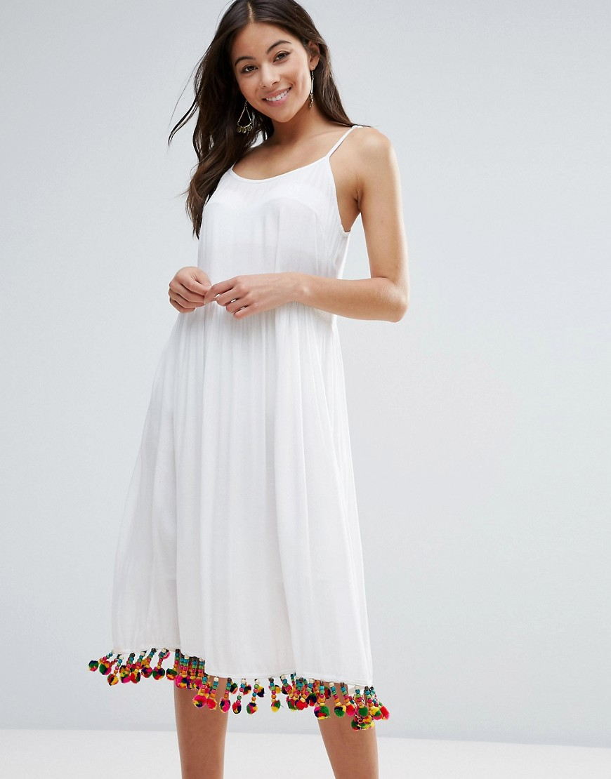 Anmol Maxi Beach Dress with Pom Pom Trim