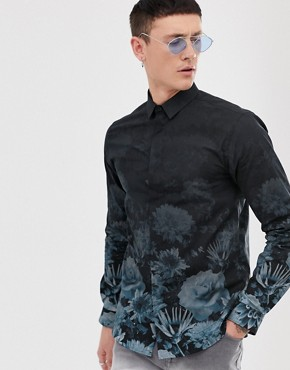 Twisted Tailor super skinny fit shirt floral fade print in navy