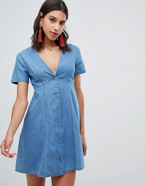 ASOS DESIGN denim tea dress in midwash blue - Blue