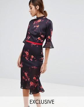 True Violet High Neck Midi Tea Dress with Asymmetric Frill Hem - Black multi floral