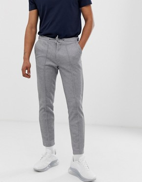 River Island smart joggers with striped waistband in grey