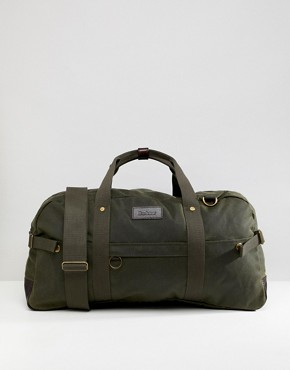 Barbour Gamefair wax leather holdall in green - Green