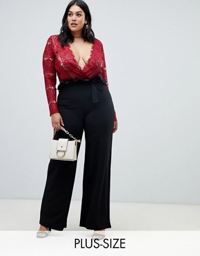PrettyLittleThing Plus wide leg trousers in black