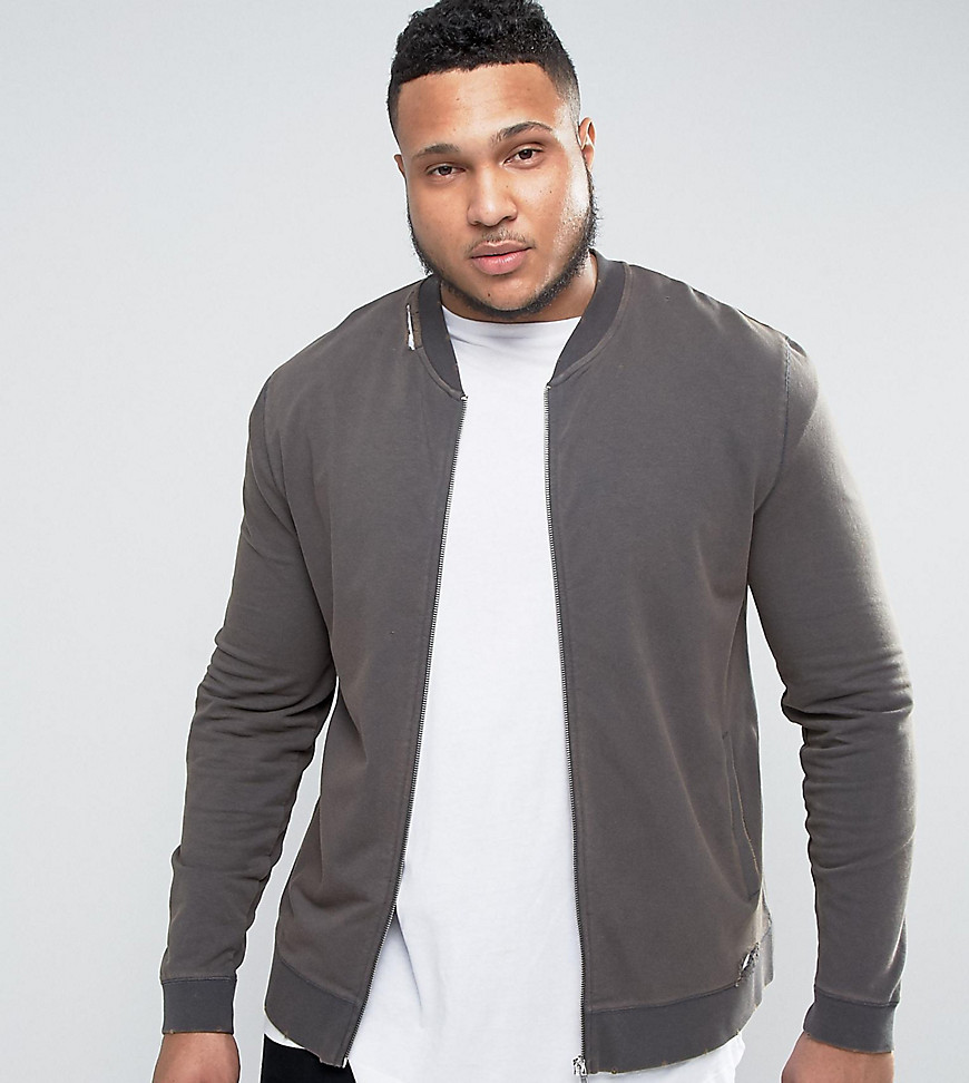 Product photo of Asos plus muscle fit jersey bomber jacket with distressing in black black olive