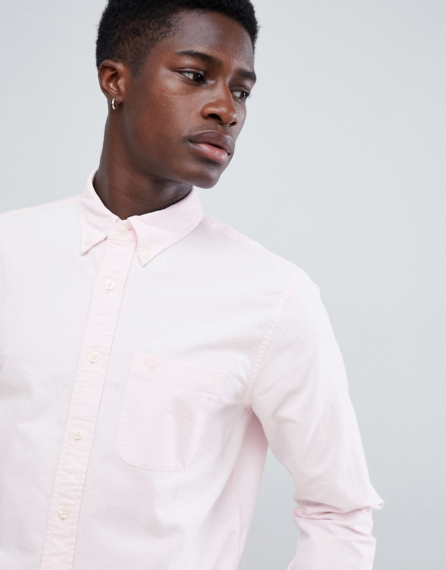 abercrombie & fitch slim fit tonal icon logo oxford shirt in pink