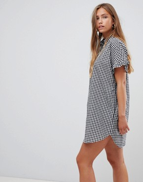 Gilli gingham shift dress with frill sleeve